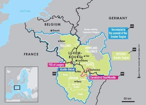 Map Of France And Luxembourg.Espaces Transfrontaliers Org Border Factsheets